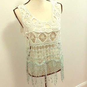 Tops - Crochet Knit Boho Festival Top Sz M